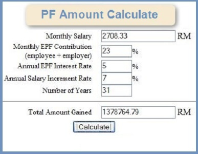 calculate PF Amount for salaried employers